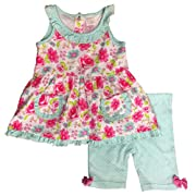 Cutie Pie Baby Infant Girls Floral & Polka Dot Baby Outfit Tunic Pink Top & Shorts Set 24m