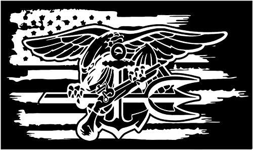 Navy Seals Decal - American Flag US Navy Seals Special Forces Frogmen Vinyl Sticker Decal Veteran (3