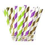 Mardi Gras Straws, New Orleans Mardi Gras Party Supplies (25 Pack) - Purple, Green & Gold Louisiana Celebration Party Straws, Carnival of Venice Fat Tuesday Party Supplies