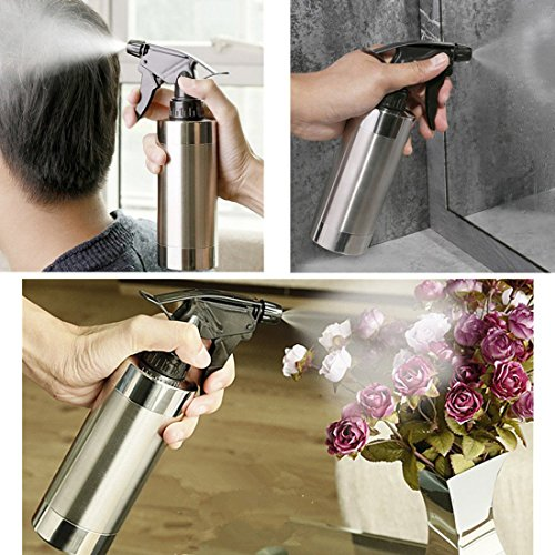 Stainless Steel Water Spray Bottle, Alotm 280ml/9.5oz Hand Press Watering Pot Can Water Sprinkler fo by Alotm (Image #6)