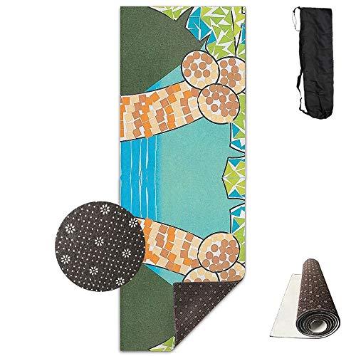 (Tropical Mosaic Palm Deluxe,Yoga Mat Aerobic Exercise Pilates Anti-Slip Gymnastics Mats)