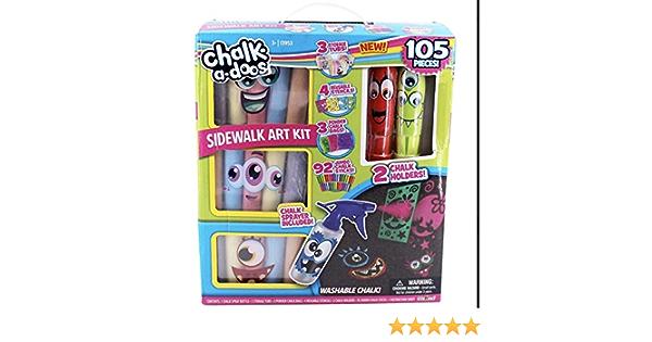 Non-Toxic /& Washable Scentos Chalk Set Assorted Fruity-Scented Sticks with Stencils /& Holder 7-Piece Sidewalk Chalk Art Kit for Kids