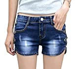 Govc Women Casual Summer Mid Waist Stretchy Denim Jean Shorts Junior Short Jeans(Blue,L)