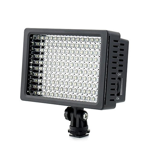 160 LED LD-160 Camera Video Light By Kshioe, Dimmable Ultra High Power Panel for Canon Nikon Pentax Panasonic SONY Samsung and Olympus DSLR Camera /DV Camcorder