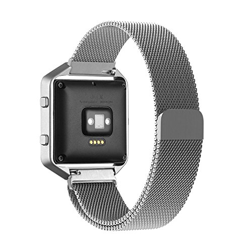 Fitbit Blaze Band Large (6.1-9.3 in), PUGO TOP Milanese Loop Stainless Steel Wristband for Fitbit Blaze Smart Fitness Watch, Large, Silver (Frame Not Included)