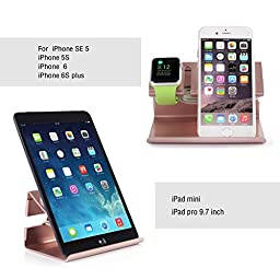 Apple Watch Stand, iPhone 6 Stand, BENTOBEN Charging Stand Dock Station Cradle Nightstand for Apple Watch and iPhone with Cable Winder Detachable Construction Anti Slip Foam Cushion - Rose Gold