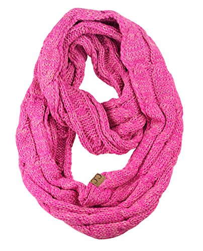NYFASHION101 Soft Winter Warm Chunky Knit Cowl Infinity Loop Scarf, Hot (Hot Pink Cowl)
