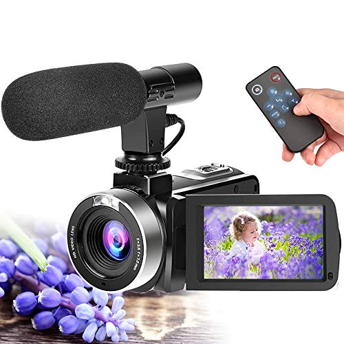 Full HD Video Camera,Camcorder for YouTube Vlogging Camera with Microphone 1080P 30fps 24.0MP Video Camcorder Support RemoteControl