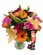 Save on Fresh Flowers Carnival Bouquet with Free Chocolates - Vibrant Bouquet of Roses, Lilies and Carnations, Hand Designed by Expert Florists, Perfect for Birthdays, Anniversaries and Special Celebrations and more