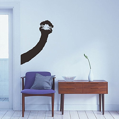 """Price comparison product image BIBITIME Long Neck Ostrich Wall Decal Animal Head Art Vinyl Sticker for Living Room porch Nursery Bedroom Kids Room Decor 16.92"""" x 23.22"""""""