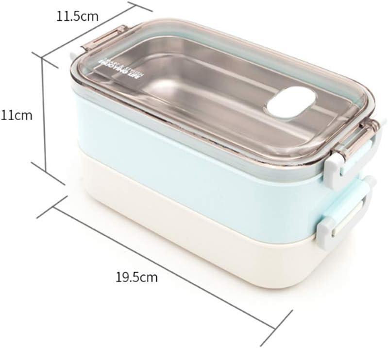 Fiambrera de Acero Inoxidable de 880 ml Contenedor de Almacenamiento de Alimentos con 2 Compartimentos Extra/íbles Fiambrera Bento para Ni/ños