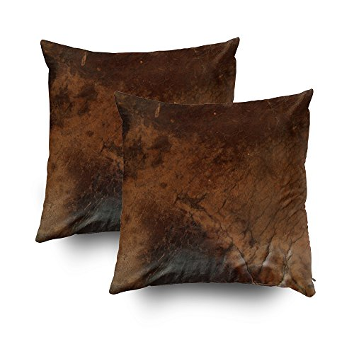 Capsceoll 2PCS worn saddle faux leather Decorative Throw Pillow Case 18X18Inch,Home Decoration Pillowcase Zippered Pillow Covers Cushion Cover with Words for Book Lover Worm Sofa Couch