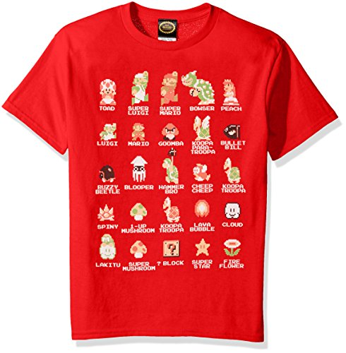 Nintendo Big Boys Super Mario Pixel Cast Graphic T-shirt, Red, YXL