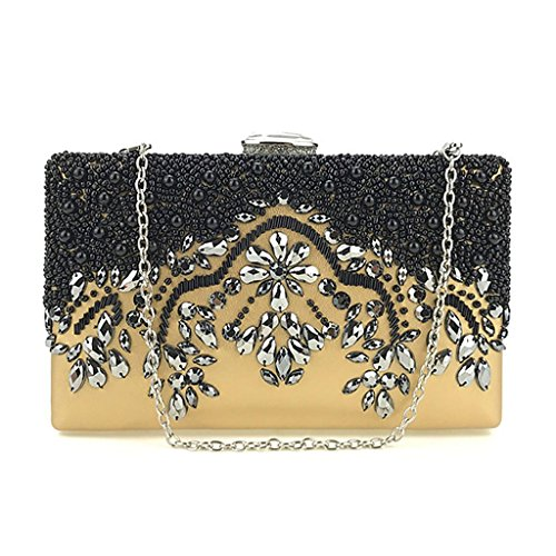 Senoow Gold Bridal Clutch Wallet Evening Wedding Prom Party Purse Handmade Bead Bag Women 4f7w4Tr