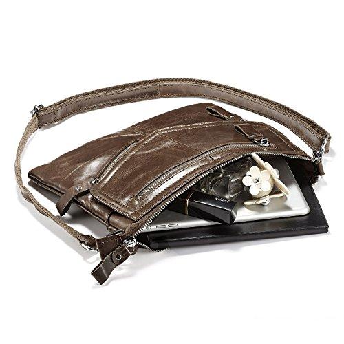 Shoulder Leather Apricot for body Women's Cross Soft Purses Small Women Purses Lecxci Zipper Bags Travel xvwR7