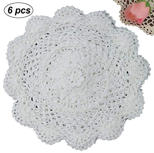 New Handmade Crocheted Doily - Creative Linens 6PCS 10