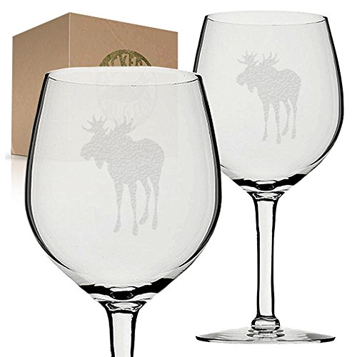 Stickerslug Engraved Moose Wine Glasses, 11 ounce, Set of 2