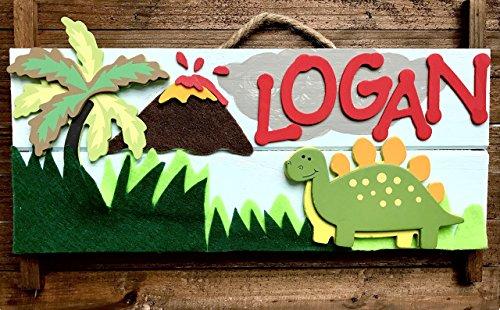 Dinosaur Theme Personalized Kids Door Sign; Custom Name Plate