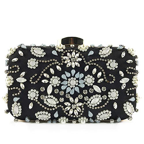 (Women Noble Crystal Beaded Evening Bag Wedding Clutch Purse Black)