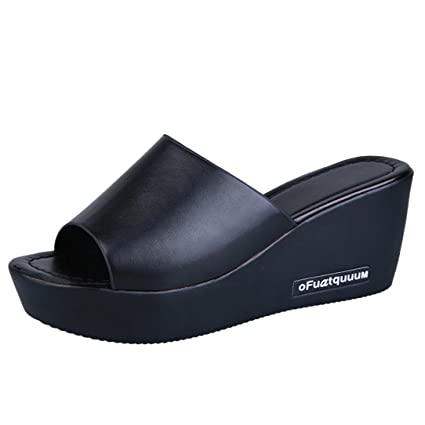 eea19385c898bf SUKEQ Women s Platform Wedge Sandals Slide On Comfort Thick Bottom Sandal  Peep Toe Wide Band Slip On Slipper Mule Shoes