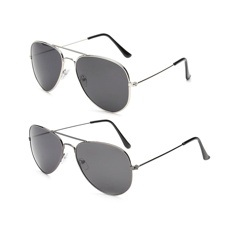 Gansta UV protective unisex aviator sunglasses combo - (GN-3002-Sil-B2-GN-3002-Gun-B2|58|Grey Lens)