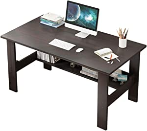 XGao Home Study Desk Computer Desk Writing Table Modern Mobile Laptop Cart Office Desktop Table Top with Storage Shelf Saving Space for Bed Sofa Home Student