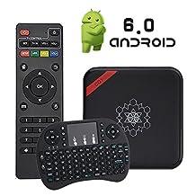 TV BOX With Keyboard - [ New Updated ] TopYart 2017 Andriod 6.0 Set Top Box Amlogic S905X 1G+8G /Full HD /H.265 /WiFi 2.4GHz Quad Core HD 4K Smart TV Box + Free Keyboard