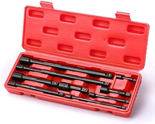 "CASOMAN 9 Pieces Extension Bar Set, 1/4"", 3/8"" and 1/2"" Drive Socket Extension, Premium Chrome Vanadium Steel with Black Phosphate Finish"