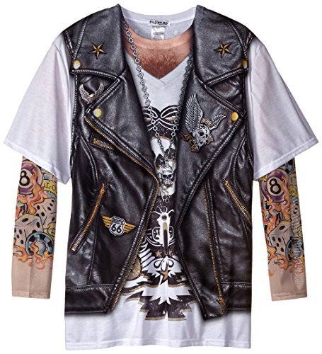 Faux Real Men's Big-Tall Biker Tattoo T-Shirt with