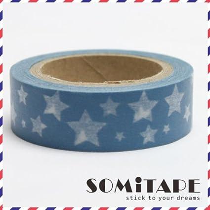 Estrellas blancas azul cinta adhesiva con estampado, Craft cinta decorativa: Amazon.es: Hogar
