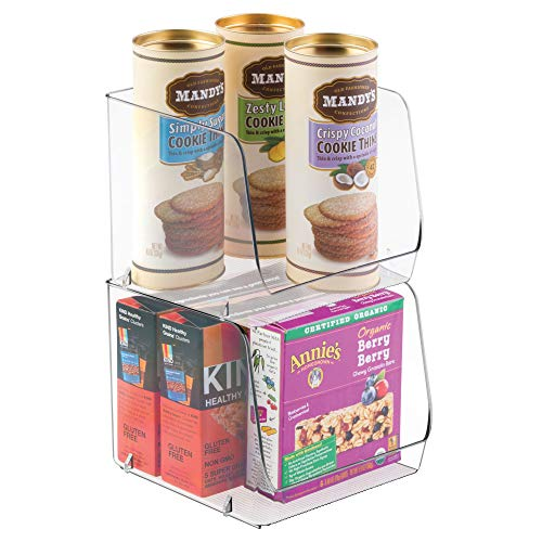 mDesign Stacking Organizer Bins for Kitchen, Pantry, Office, Bathroom - Pack of 2, Large, Clear
