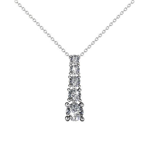 b22c48b306ec60 YOURDORA Damen Dünne Halskette Ketten mit Anhanger Kristallen von SWAROVSKI  Weißgold Modeschmuck 18 quot