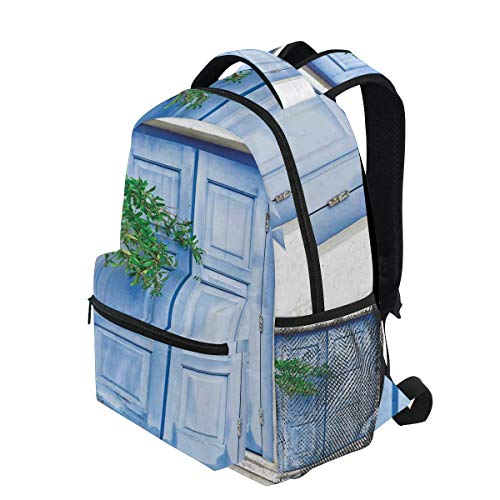 KVMV Mediterranean Window Shutters with Tree Print Heritage Greek Island Lightweight School Backpack Students College Bag Travel Hiking Camping Bags (Best Greek Island For Hiking)