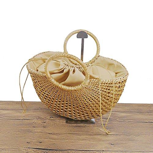 sac à bandoulière Paille Fait à jaune Femmes Messenger la Sacs Bag Tendances Femme main Mme de 1 HopeEye paille à mode la main zq80qZ