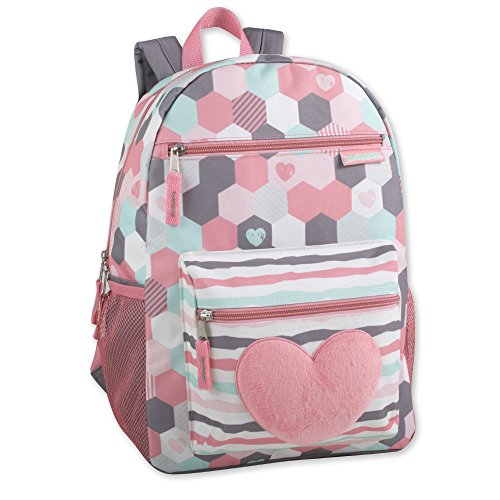 Girls Backpack With Plush Applique And Multiple Pockets (Plush Hearts)