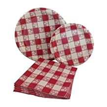 Red & White Gingham Checkered Party Supply Pack! Bundle Includes Paper Plates & Napkins for 8 Guests