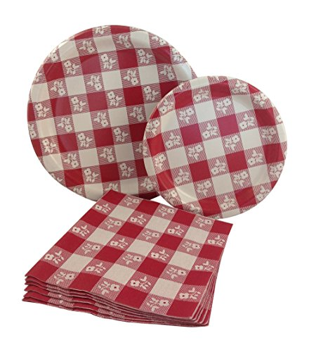 Red & White Gingham Checkered Party Supply Pack! Bundle Includes Paper Plates & Napkins for 8 -