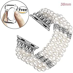 Mington Apple Watch Band Replacement, Decorated Handmade Luxury Jewelry Faux Pearl Bracelet Elastic Stretch iWatch Strap with Girls Women Wristband for Apple Watch Series1/2/3 (WP0012_white_38mm)