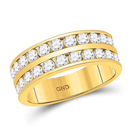 - Dazzlingrock Collection 14kt Yellow Gold Mens Round Diamond Double Row Wedding Band Ring 2.00 Cttw