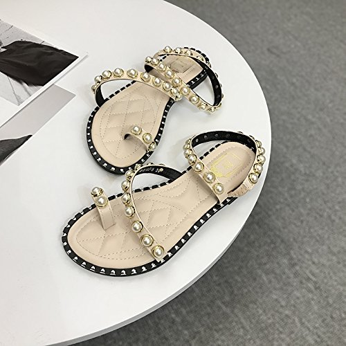 del Pearls Color albaricoque New Summer Student Heels Flat JUWOJIA Toes Retro Sandals Shoes IRPwfq