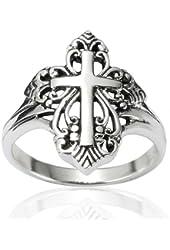 925 Sterling Silver Detailed Filigree Calatrava Cross Victorian Style Ring - Nickel Free