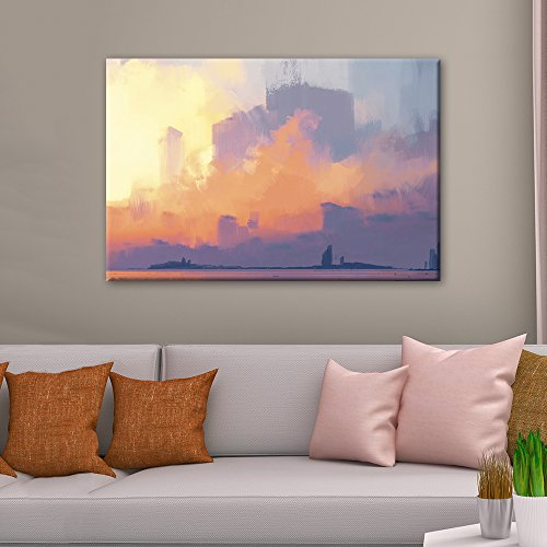 - wall26 Canvas Wall Art - Oil Painting Style Colorful Abstract Seascape - Giclee Print Gallery Wrap Modern Home Decor Ready to Hang - 16x24 inches