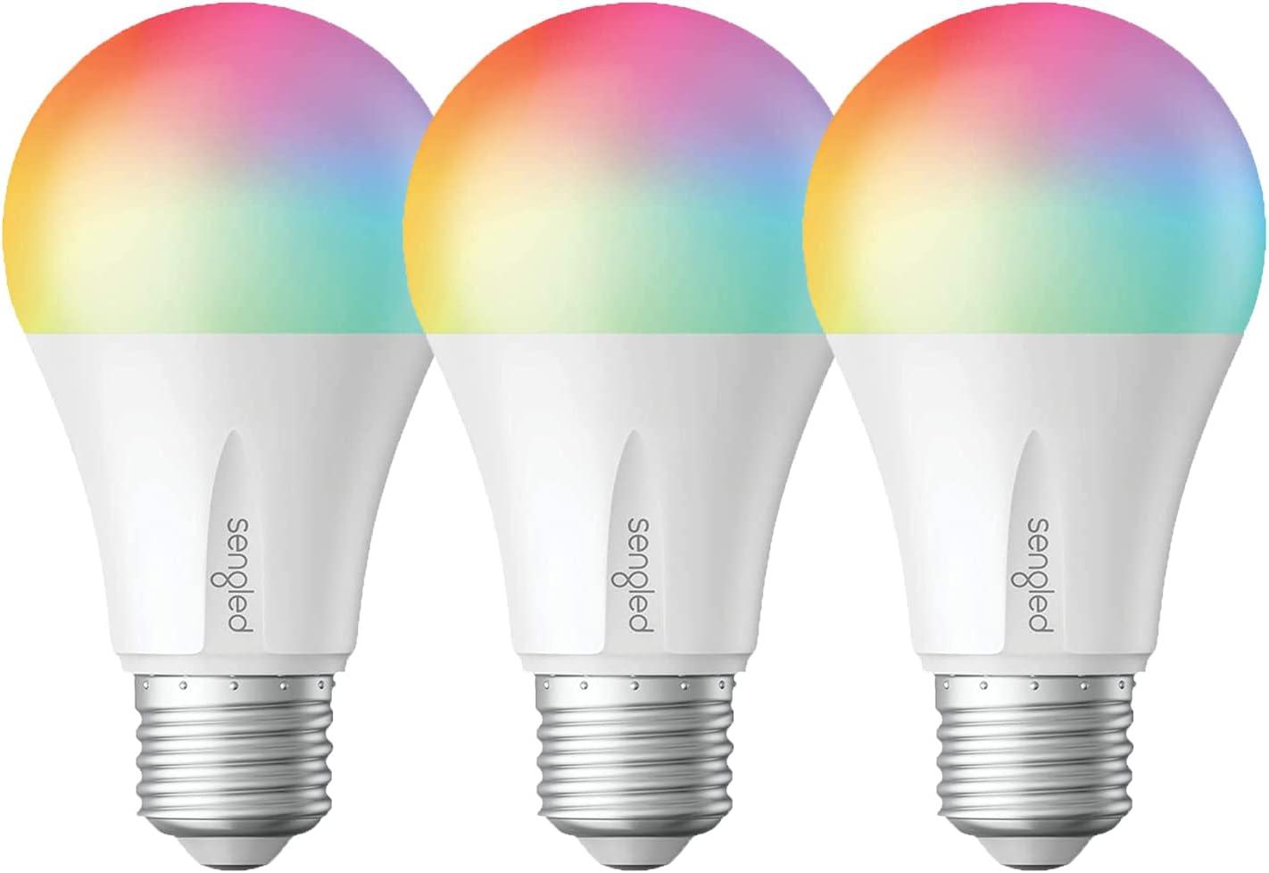 Sengled Smart Bulb, Led Light Bulbs Color Changing, E26 Led Bulb 60 Watt, Smart Light Bulbs That Work with Alexa, Google Home, A19 Smart Bulb, Smart Hub Required, 800LM, 3 Pack