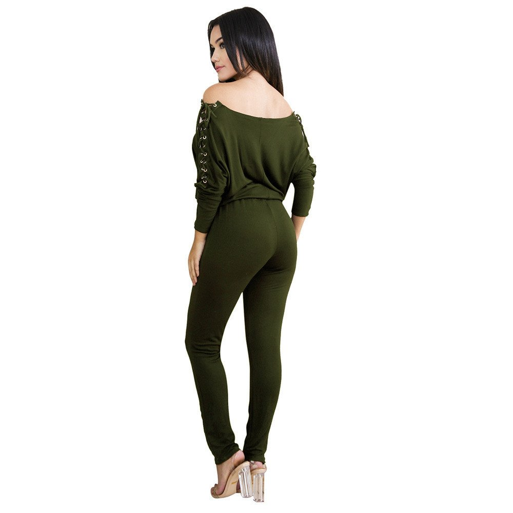072a2a9fda65 Amazon.com  TIMEMEANS Womens Jumpsuit Sexy Overalls Long Sleeve Rompers  Summer Off Shoulder Army Green  Clothing