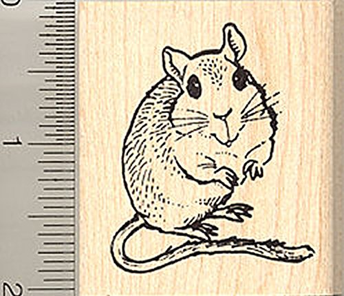 Cute Gerbil Rubber Stamp<br>Wood Mounted