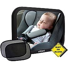 [Patrocinado] Bebé espejo para asiento trasero de coche (Totalmente montado)–Bono–Par de sombrillas, bebé a bordo de signo, & Paño De Limpieza De Microfibra