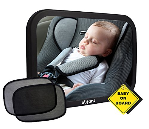 - Baby Car Mirror for Back Seat (Fully Assembled) - BONUS Pair of Sunshades, Baby on Board Sign, & Microfiber Cleaning Cloth - LIFETIME WARRANTY