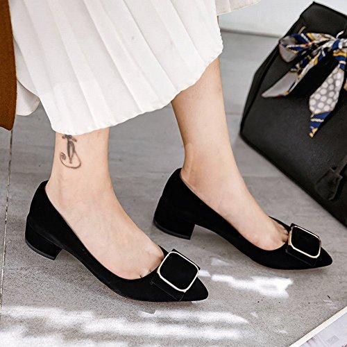 Carolbar Women's Elegant Sweet Bow Mid Heel Pointed Toe Court Shoes Black 0znMKJv