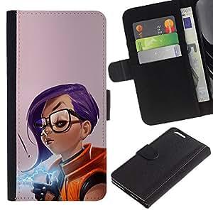 KLONGSHOP // Tirón de la caja Cartera de cuero con ranuras para tarjetas - Chica púrpura del pelo - Apple Iphone 6 PLUS 5.5 //