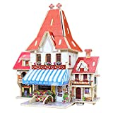 Yobooom 3d Wooden Puzzles for Kids Wood House Ages 4-8 Early Educational Toys Intelligence Toy - French florist